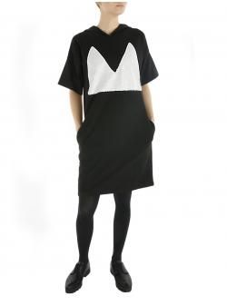 Rochie neagra cu maneca scurta si aplicatie paiete
