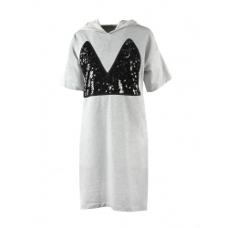 Hooded Grey Dress With Sequins Panel