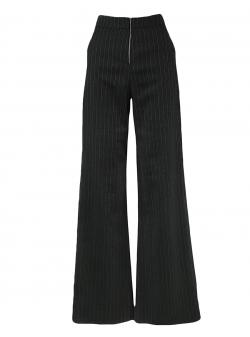 Pantaloni gri evazati in dungi