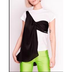 Tricou alb din bumbac cu aplicatie din satin Back Love