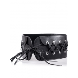 Black Leather Belt with Strings