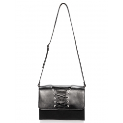 Black Natural Leather Cross Body Bag (Corset)