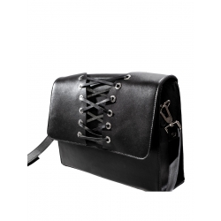 Black Leather Cross Body Bag (Corset)