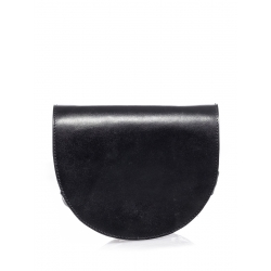 Black Leather Semicircle Bag