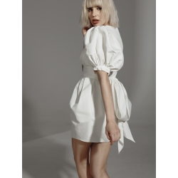 Courtney Ivory Mini Dress With Puffed Sleeves And Buttons