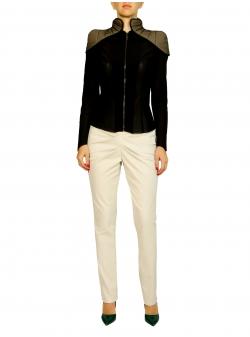 Pantaloni bej cu drapaje si buzunare Florentina Giol