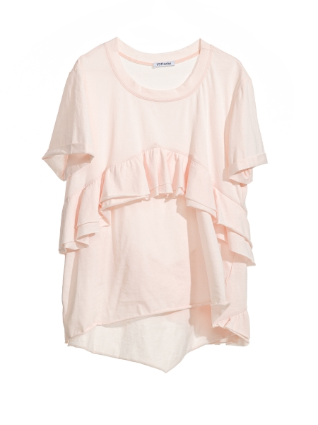 Asymetric powder pink t-shirt with ruffles