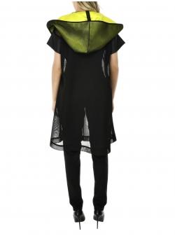 Mesh vest with neon hood
