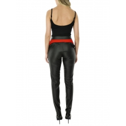 Black vinyl pants with contrasting insertion