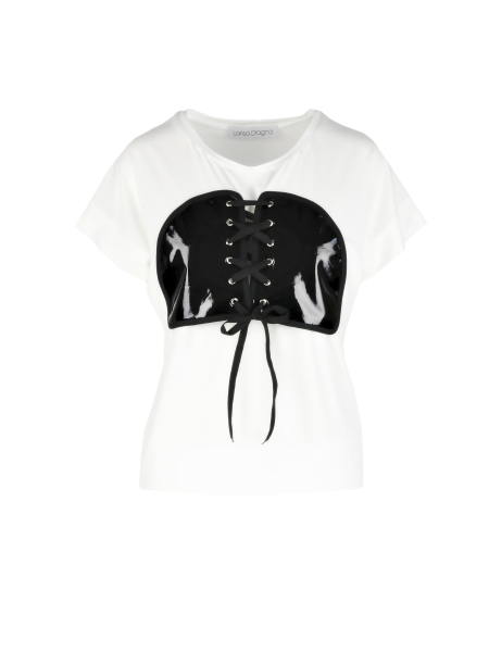 White top with corset applique