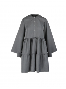 Midi grey dress with flounces