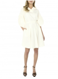 Ivory dress with buffalo sleeves