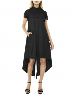Black asymmetrical dress with short sleeves