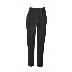 Pantaloni cu talie inalta si nasturi aplicati