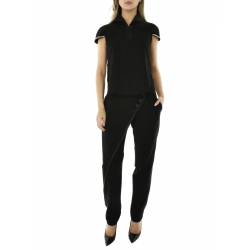 Black Pants With Applied Buttons