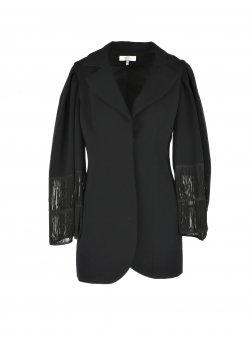 Black Jacket With Frills Applied