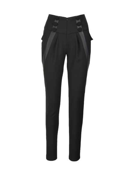 Black Pants With High Waist And Applied Buttons