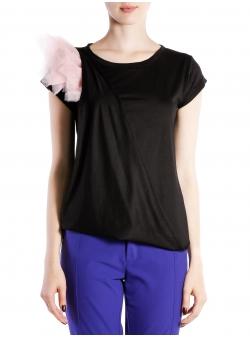 Tricou din bumbac cu aplicatii din tulle Larisa Dragna