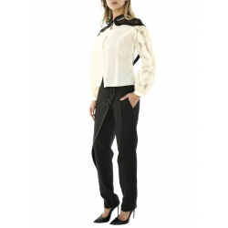 Nude Shirt With Structured Sleeves And Black Insertions