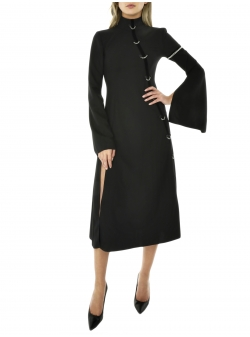 Black Kimono Dress With Silver Chains