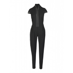 Fitted Black Jumpsuit With Short Sleeves