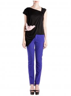 Tricou negru asimetric cu insertii de tulle Larisa Dragna