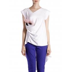 White Asymmetric Cotton T-shirt