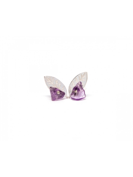 Leaf Earrings With Natural Amethyst