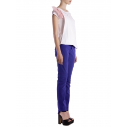 Tricou din bumbac alb cu aplicatii detasabile Larisa Dragna