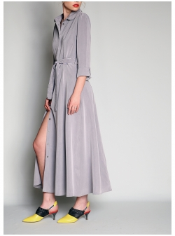 Light Grey Maxi Dress With Belt