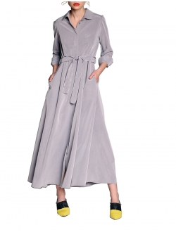 Light Grey Maxi Dress With Belt