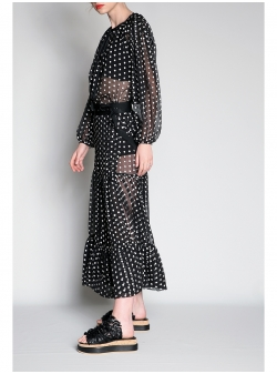 Maxi Polka Dot Organza Skirt
