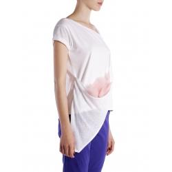 Tricou alb asimetric cu insertii din tulle Larisa Dragna