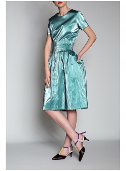 Wet Look Aqua Skirt With Folds