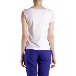 Tricou alb asimetric cu insertii din tulle