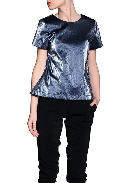 Short Sleeved Aqua Top