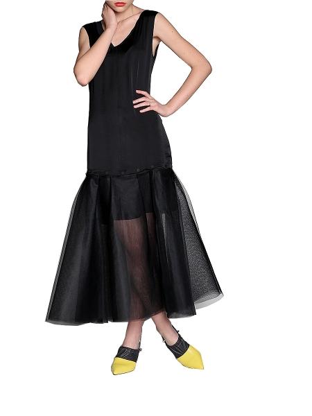 Rochie neagra modulara din tul