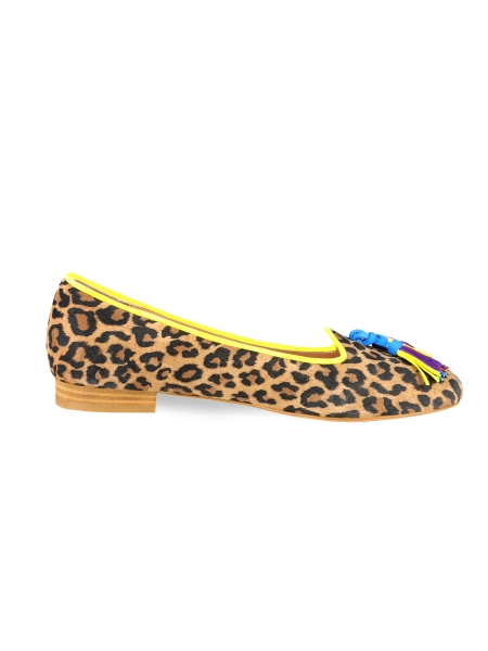 Suede Flats With Animal Print
