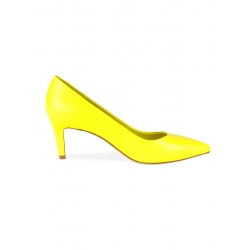 Yellow Leather Stiletto Shoes