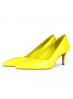 Pantofi din piele galbeni stiletto