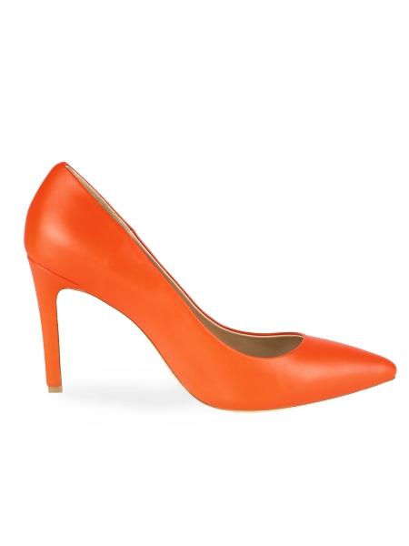 Orange Leather Stilettos