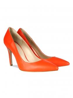 Pantofi din piele naturala oranj