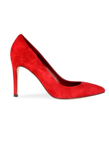 Pantofi din piele intoarsa stiletto rosii
