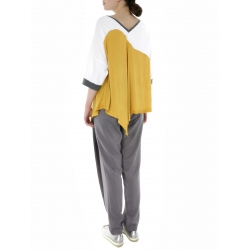 Two Toned Top With Midi Sleeves