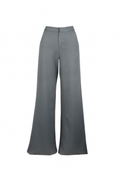 Flared Grey Pants With Pockets