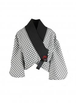 Jacheta tip kimono alb negru