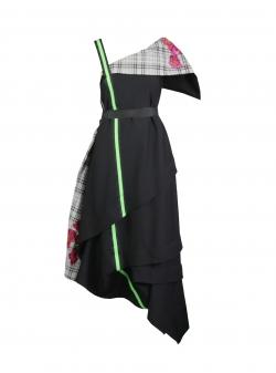 Rochie maxi neagra cu imprimeu