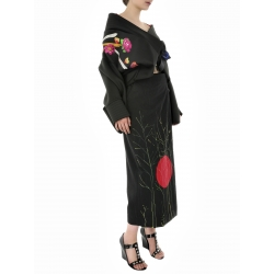Black Kimono Jacket With Flowers