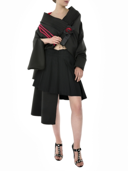 Black Asymmetric Skirt With Pleats