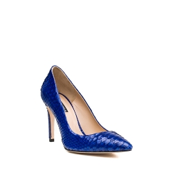 Natural Leather Blue Stilettos